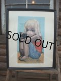 60s Margaret Keane Vintage Big Eyes Art / little ones (AC595)