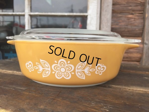 画像1: Old Pyrex Casseroles Golden Butterfly (DJ629)
