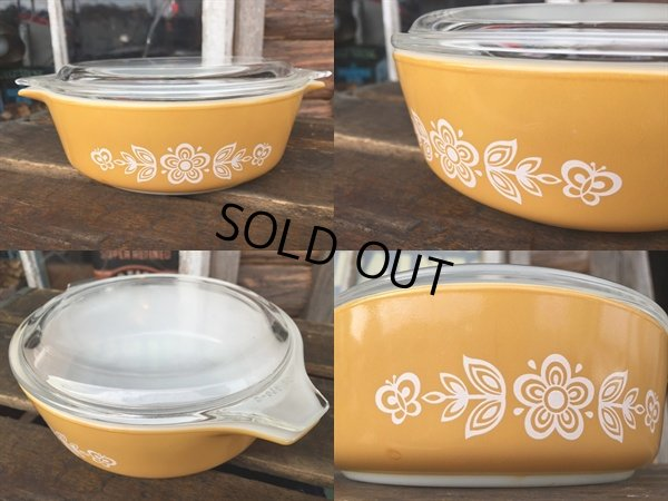 画像2: Old Pyrex Casseroles Golden Butterfly (DJ629)