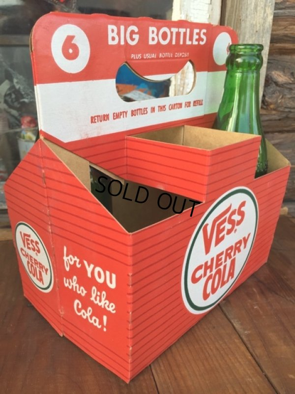 画像1: Vintage Soda 6-Pac bottles Cardboard carrying case / Vess (DJ920)