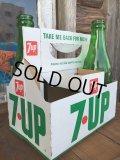 Vintage Soda 6-Pac bottles Cardboard carrying case / 7UP (DJ913)