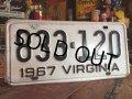 60s Vintage Lisence Plate / 833-120 (MA31)