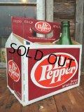 Vintage Soda 6-Pac bottles Cardboard carrying case / Dr Pepper (MA56)