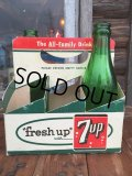Vintage Soda 6-Pac bottles Cardboard carrying case / 7UP (MA51)