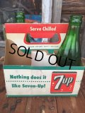 Vintage Soda 6-Pac bottles Cardboard carrying case / 7UP (MA49)