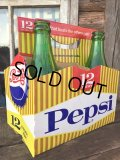 Vintage Soda 6-Pac bottles Cardboard carrying case / Pepsi (MA327)