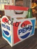 Vintage Soda 6-Pac bottles Cardboard carrying case / Pepsi (MA316)