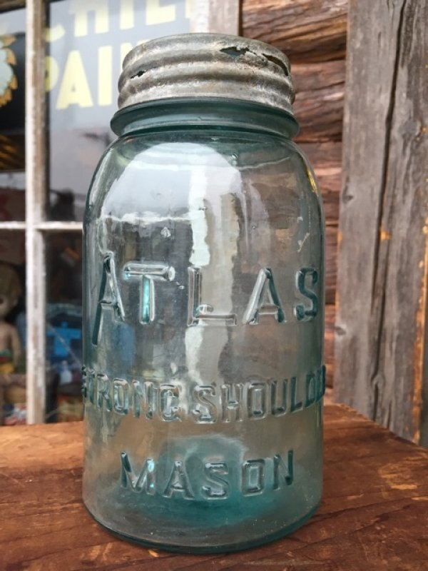 画像1: Vintage Atlas Strong Shoulder Masons Glass Jar (MA610)
