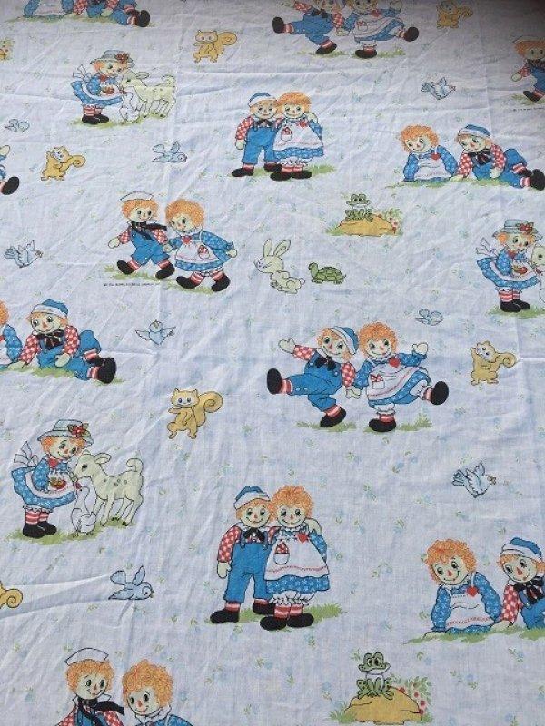 画像1: 70s Vintage Flat Sheet /  Raggedy Ann&Andy (AL918)