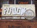 40s Vintage Drink Fudgy Chocolate Soda Embossed Metal Sign (AL925)