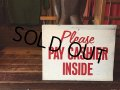 Vintage Metal Sign Plase Pay Cashier Inside (AL5540)