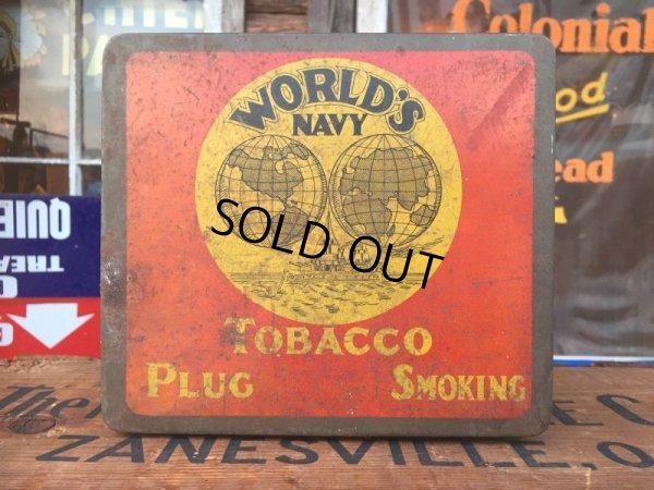画像1: Vintage World's Navy Tabacco Tin Box (AL7977)