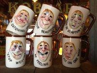 Vinatge Enesco Funny Face 3D Ceramic Mugs (J027)