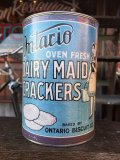 Vintage Ontario Oven fresh Dairymaid Crackers Bank Can (J40)