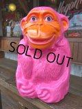 60s Pink Monkey Ape Plastic Mold Bank ( (J117)