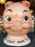 Vintage Ceramic Pig Face Piggy Bank (J128)