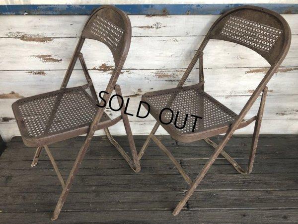 画像2: Vintage Metal Folding Chair Set (J201)