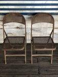 画像1: Vintage Metal Folding Chair Set (J201) (1)