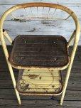 画像3: Vintage Folding Step Stool Chair Yellow (J255)