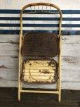 画像10: Vintage Folding Step Stool Chair Yellow (J255)