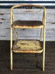 画像1: Vintage Folding Step Stool Chair Yellow (J255)   (1)