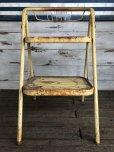 画像2: Vintage Folding Step Stool Chair Yellow (J255)   (2)