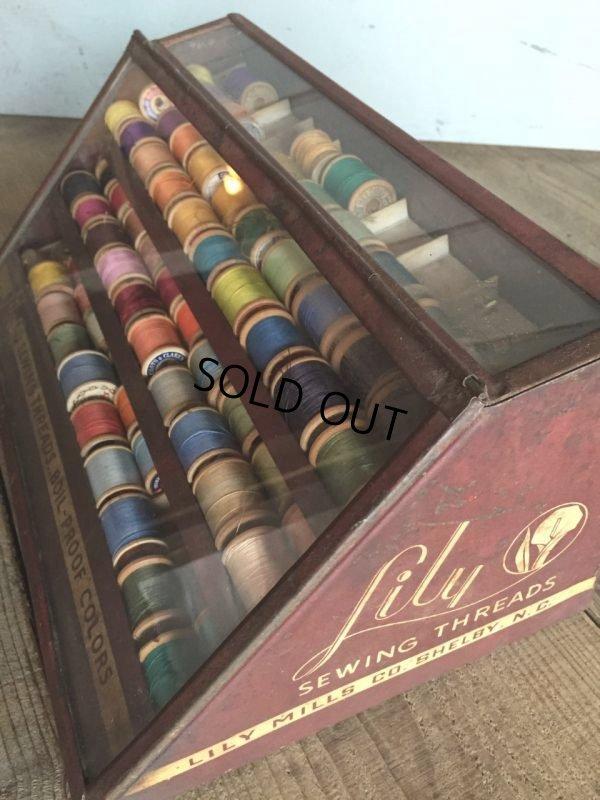 画像4: 30s Vintage Lily Sewing Threads Spool Cabinet (J283)