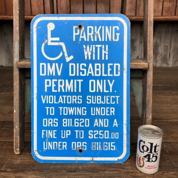 画像1: Vintage Road Sign Handicap Parking (J328)