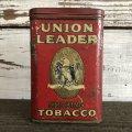 Vintage UNION LEADER Tabacco Pocket Tin Can (J340)