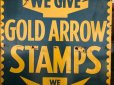 画像3: 40s Vintage Gold Arrow Stamps Huge Tin Sign (J380) (3)