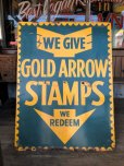 画像10: 40s Vintage Gold Arrow Stamps Huge Tin Sign (J380) (10)