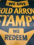 画像7: 40s Vintage Gold Arrow Stamps Huge Tin Sign (J380)