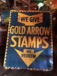 画像12: 40s Vintage Gold Arrow Stamps Huge Tin Sign (J380)