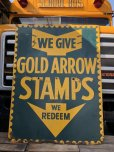 画像11: 40s Vintage Gold Arrow Stamps Huge Tin Sign (J380) (11)