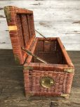 画像4: Vintage Wicker Trunk Chest Basket Large Size (J439)
