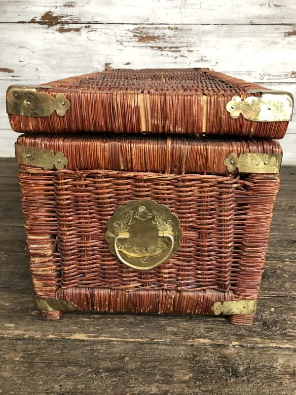 画像2: Vintage Wicker Trunk Chest Basket Large Size (J439)