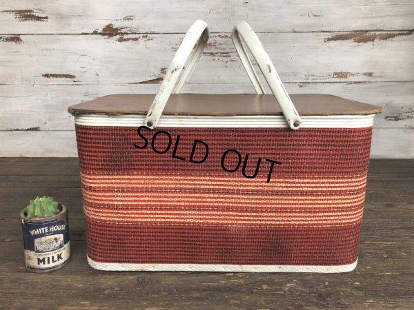 画像1: Vintage Wicker Picnic Basket Red (J441)