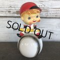 SALE Vintage Ceramic Bobble Head Doll Baseball (J788)
