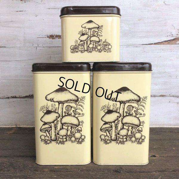 画像1: 70s Vintage Mushrom Canister Tin Can Set (J946)