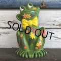 70s Vintag  Hippie Flower Power Ceramic Frog Bank (J948)