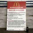 画像2: 70s Vintage MCDONALDS Playland Rules & Regulations Sign  (J948) (2)