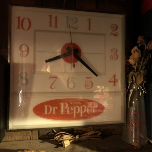 画像1: Vintage Dr Pepper Lighted Sign Pam Clock (J971)