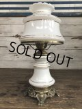 60s Vintage Metal Base Milk Glass Hurricane 3 Way Table Lamp (S028)