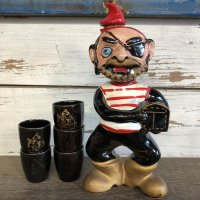 Vinatge Pirate Decanter & Shot Glass Set (S033)