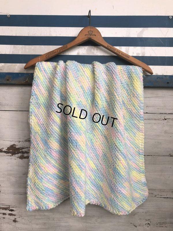 画像1: Vintage U.S.A Baby Knit Blanket Rug 70x70 cm (S076)