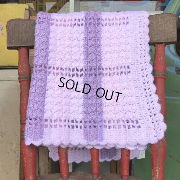 画像2: Vintage U.S.A Baby Knit Blanket Rug 100x85 cm (S079)