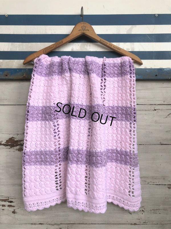 画像1: Vintage U.S.A Baby Knit Blanket Rug 100x85 cm (S079)