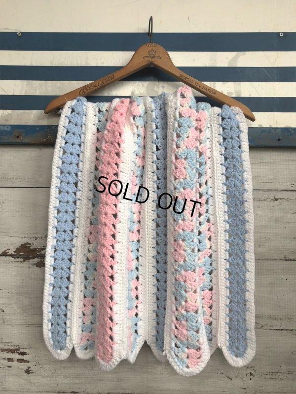 画像1: Vintage U.S.A Baby Knit Blanket Rug 70x80 cm (S080)