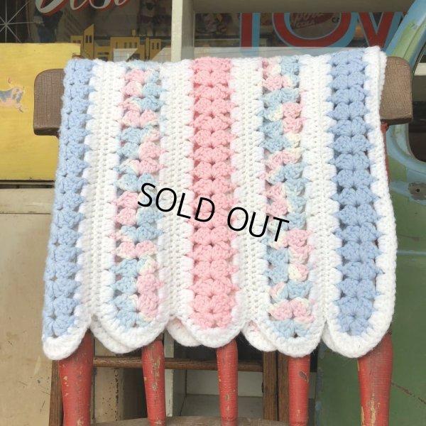 画像2: Vintage U.S.A Baby Knit Blanket Rug 70x80 cm (S080)