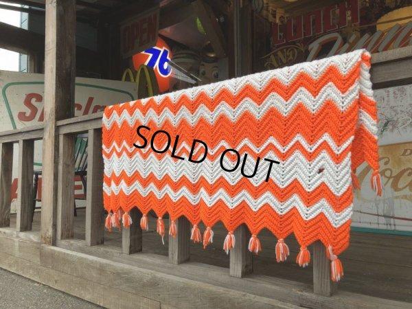 画像1: Vintage U.S.A Knit Blanket Rug 190x135 cm (S068)